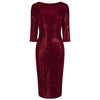 Red Velour Sequin Wiggle Dress - Pretty Kitty Fashion
