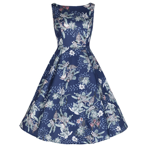 Navy Blue Sparkle Bird Print Rockabilly Swing Dress