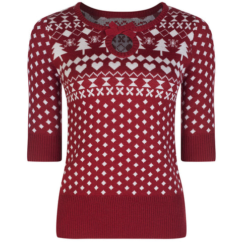 Vintage Red Knitted Snowflake Jumper