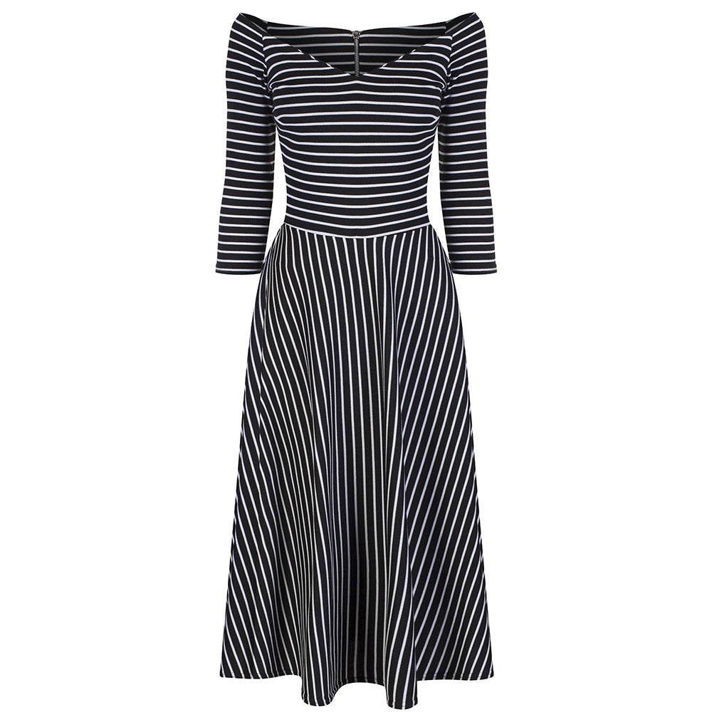 19f3b3d86f558 Black and White Striped 3/4 Sleeve Swing Dress - Pretty Kitty Fashion