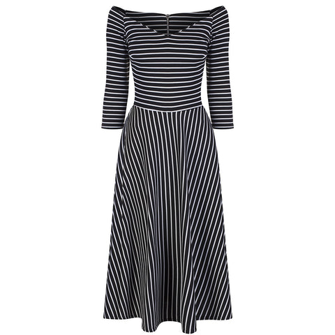 Black White Striped 3/4 Sleeve Swing Dress - Pretty Kitty Fashion