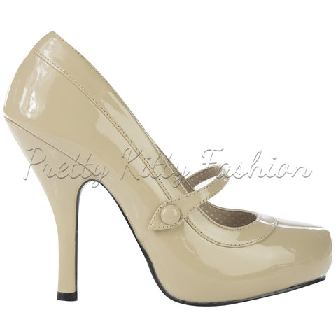 Pin Up Couture Cream Retro Mary Jane High Heels