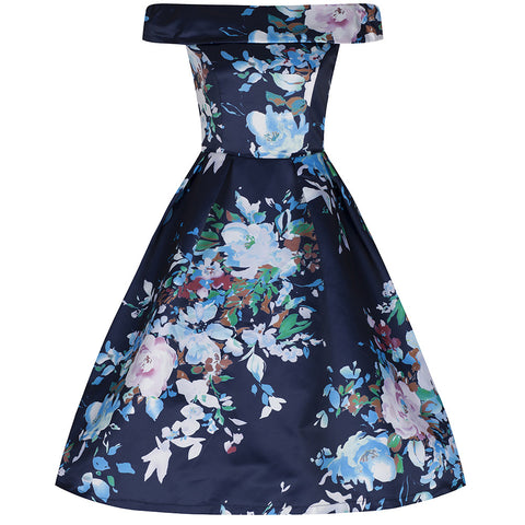 Navy Blue Bardot Neck Floral Swing Dress