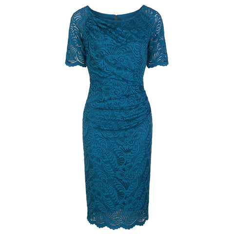 Teal Blue Short Sleeve Lace Wiggle Pencil Dress