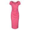 Rose Pink Capped Sleeve Bodycon Wiggle Pencil Dress - Pretty Kitty Fashion