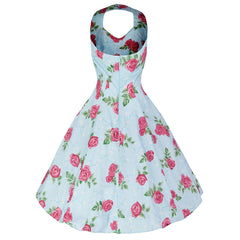 Pretty Kitty Sky Blue Summer Pink/Red Rose Halter Swing Dress