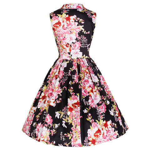 Pretty Kitty Black Pink Floral Button Top Swing Dress