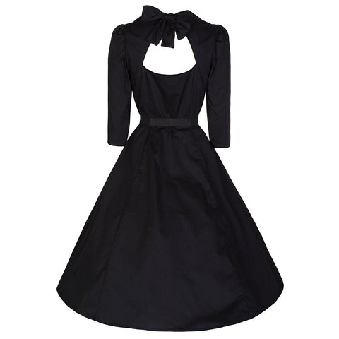 50s Black Belted 3/4 Sleeve Cotton Swing Dress - Pretty Kitty Fashion
