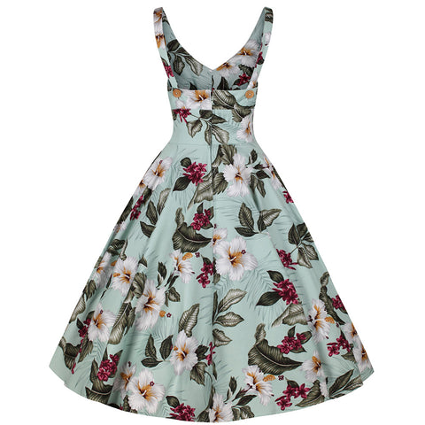 Mint Green Floral Print Summer 50s Swing Dress