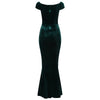 Green Cap Sleeve Crossover Bust Fishtail Hem Velour Maxi Dress - Pretty Kitty Fashion