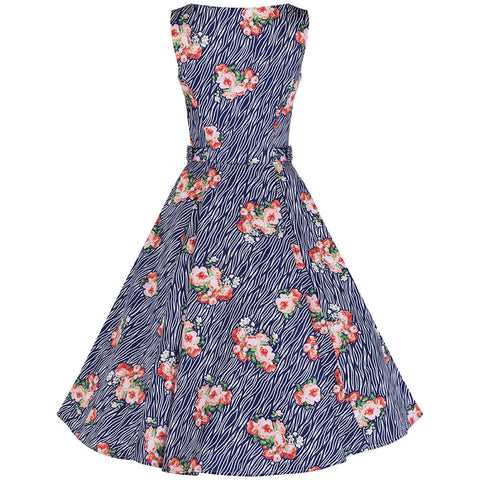 Navy Blue Zebra Stripe Floral Rockabilly Dress