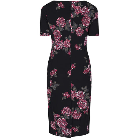Black Floral Capped Sleeve Bodycon Wiggle Dress - Pretty Kitty Fashion