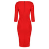 Fiesta Orange 3/4 Sleeve Pleated Bodycon Pencil Dress
