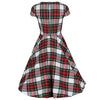 White and Red Woven Tartan Rockabilly 50 Swing Dress