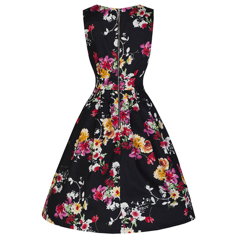 Black Floral Audrey Swing Dress - Pretty Kitty Fashion