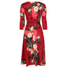 Wine Red Floral 3/4 Sleeve V Neck Crossover Top Empire Waist Swing Dress - Pretty Kitty Fashion