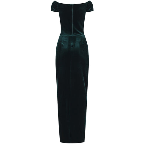 Green Velour Crossover Maxi Dress
