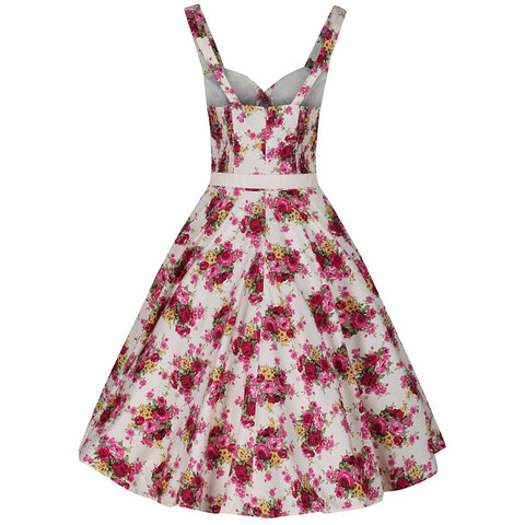 White and Pink Floral Vintage Belt Swing Dress