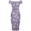 Mauve Floral Cap Sleeve Crossover Top Bardot Wiggle Dress - Pretty Kitty Fashion
