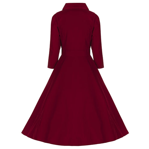 3/4 Sleeve Red Velvet Dress - Pretty Kitty Fashion
