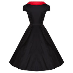 Pretty Kitty Black Red Neckline Detail Swing Dress