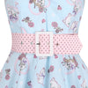 Sky Blue and Pink  Kitten / Cat Print 50s Swing Dress