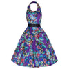 Purple Floral 50s Halterneck Swing Dress - Pretty Kitty Fashion