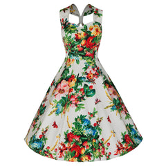 Pretty Kitty White Floral Rose Tulip Swing Dress