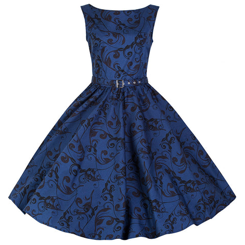 Pretty Kitty Blue Swing Sleeveless Dress