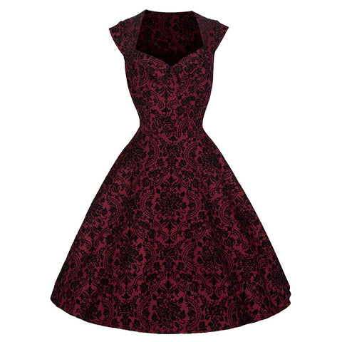 Pretty Kitty Red Black Flock Swing Dress