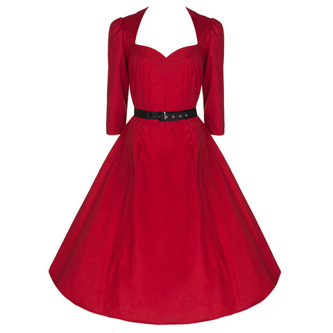 50s Red Belted 3/4 Sleeve Cotton Swing Dress - Pretty Kitty Fashion