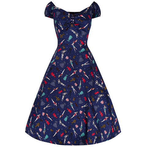 Collectif Navy Blue Pin Up Doll Dress