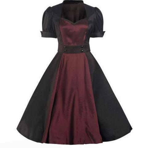 Black and Burgundy Red Short Sleeve Satin 50s Swing Dress - Pretty Kitty Fashion