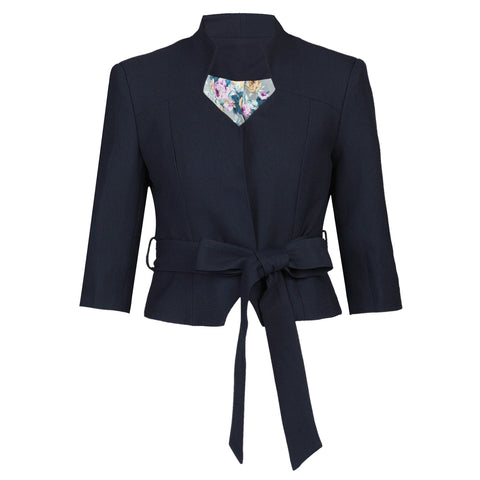 Navy 3/4 Sleeve Tie Blazer Jacket