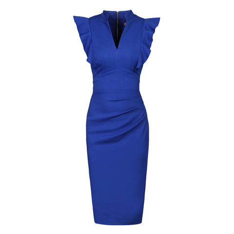 Royal Blue Ruffle Shoulder Bodycon Pencil Dress