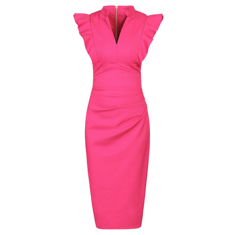 Hot Pink Ruffle Shoulder Bodycon Pencil Dress