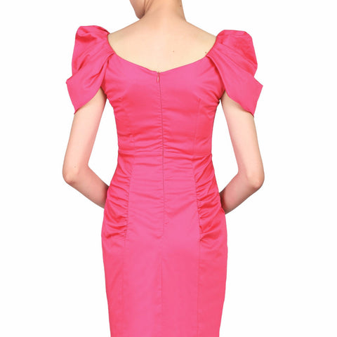 Hot Pink V Neck Ruffle Sleeve Wiggle Pencil Dress