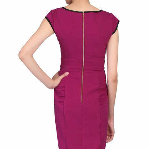 Purple Berry V Neck Bow Front Pencil Dress