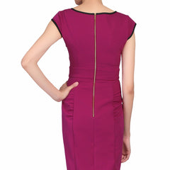 Purple Berry V Neck Bow Front Capped Sleeve Pencil Dress