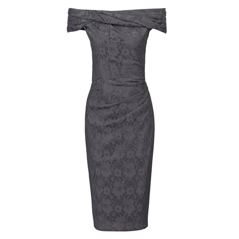 Dark Grey Lace Bardot Wiggle Pencil Dress