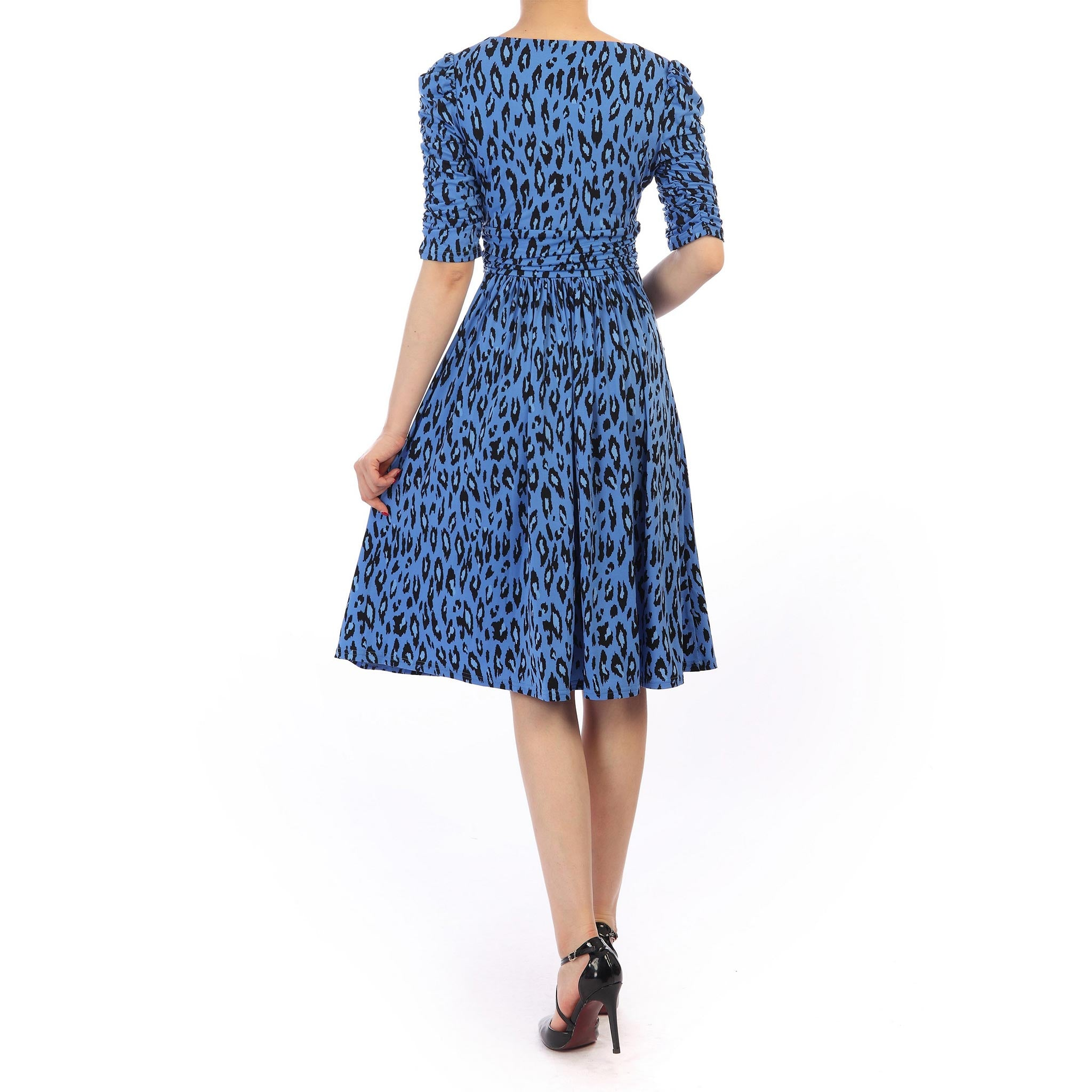 79e811a6e Blue Multi Animal Print Vintage 1940s Gathered Sleeve Tea Dress - Pretty  Kitty Fashion