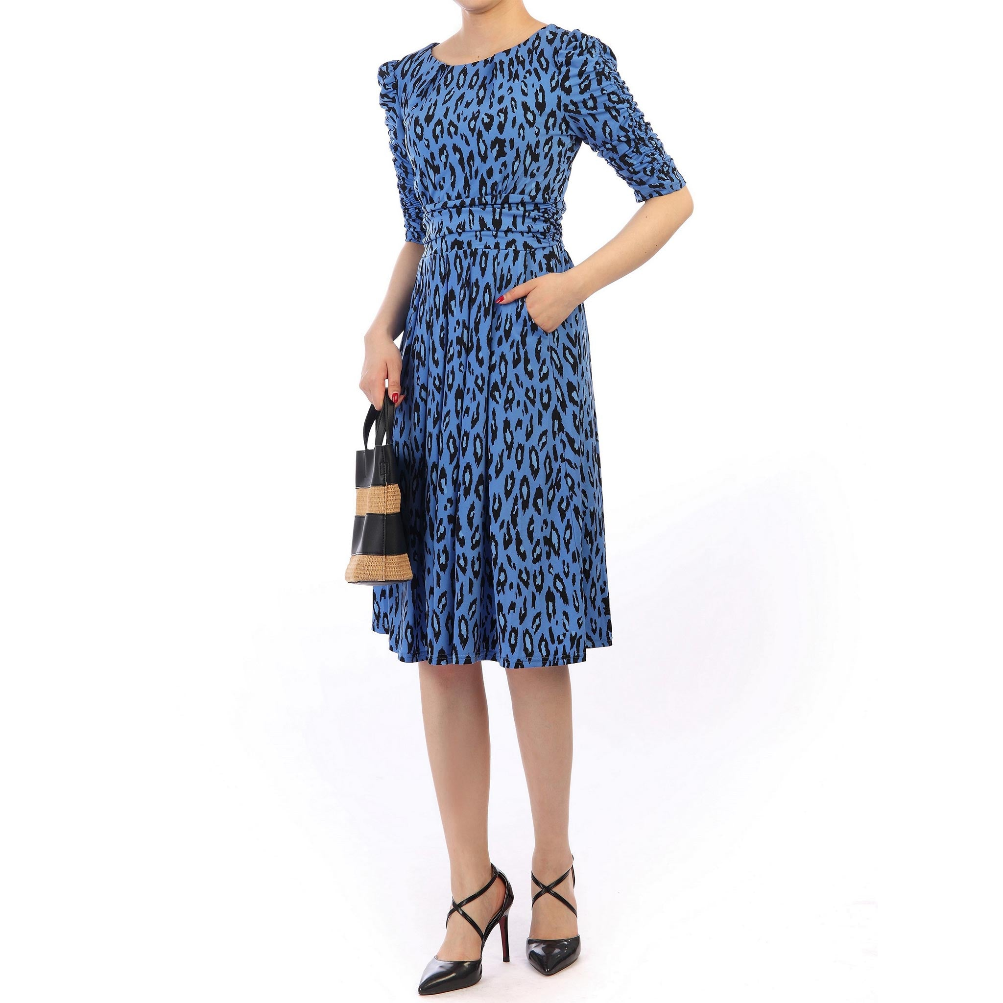 39459c1bb Blue Multi Animal Print Vintage 1940s Gathered Sleeve Tea Dress - Pretty Kitty  Fashion