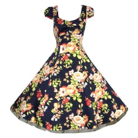 50s Navy Floral Vintage Swing Prom Pin-Up Tea Dress - Pretty Kitty Fashion