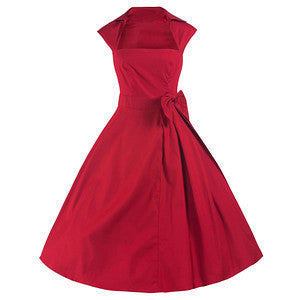 50s Red Swing Bow Dress - Pretty Kitty Fashion