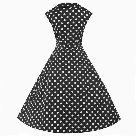 50s Polka Dot Swing Bow Dress - Pretty Kitty Fashion
