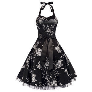 Pretty Kitty Black White Floral Evening Party Prom Dress