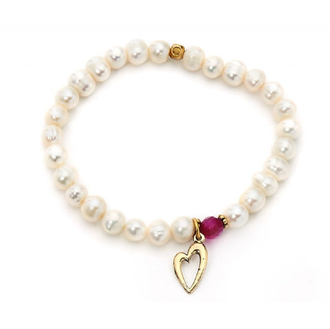 Heart Charm Beaded Pearl Look Bracelet - Pretty Kitty Fashion