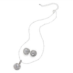 Elegant Circular Pendant and Earrings Set