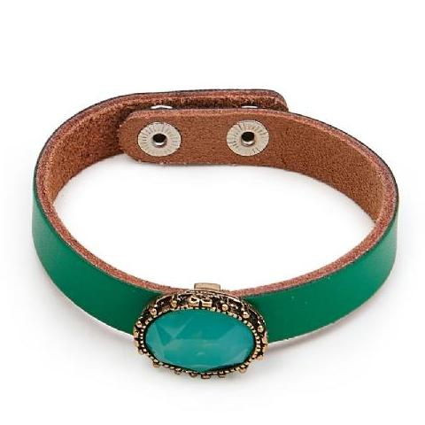 Green Leather Charm Bracelet - Pretty Kitty Fashion