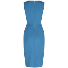 Turquoise Blue Luxury Pencil Dress